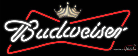 White Budweiser Crown Logo Neon Sign