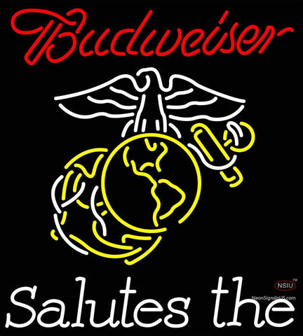 Custom Budweiser Salutes The United States Marine Corp Neon Sign