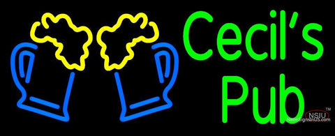 Custom Cecils Pub With Beer Mug Logo Neon Sign