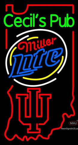 Custom Cecils Pub With Miller Lite And Indiana Hoosiers Neon Sign