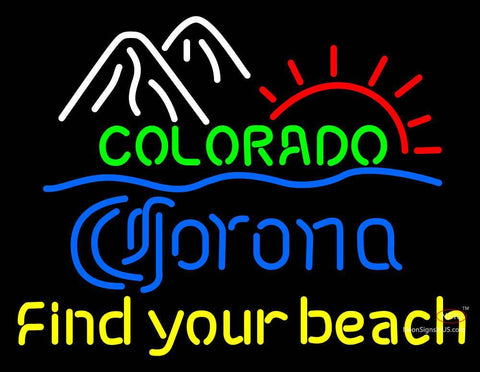 Custom Colorado Corona Find Your Beach Neon Sign