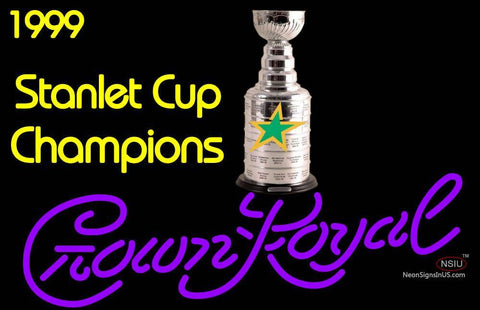 Custom Dallas Stars Stanley Cup Crown Royal Neon Sign 7