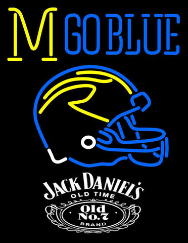 Custom Go Blues Michigan Wolverines Helmet Neon Sign