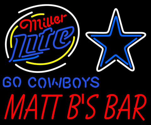 Custom Go Cowboys Miller Lite Matt Bs Bar Neon Sign