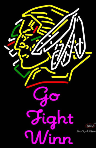Custom Go Fight Winn With Fighting Sioux Head Neon Sign