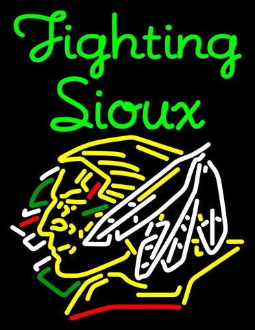 Custom Green Fighting Sioux With Logo Neon Sign