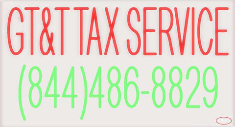 Custom Gtandt Tax Service    Real Neon Glass Tube Neon Sign