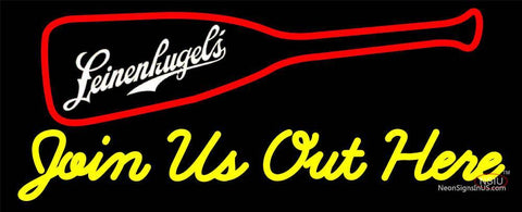 Custom Join Us Out Here Leinenkugels Logo Neon Sign