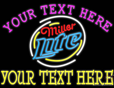 Custom Miller Light Neon Rounded Logo Neon Beer Sign