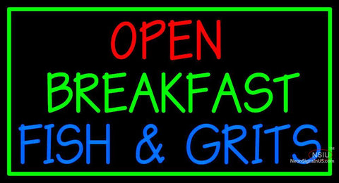Custom Open Breakfast Fish And Grits Neon Sign