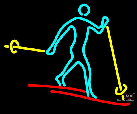 Skier Neon Sign with Logo