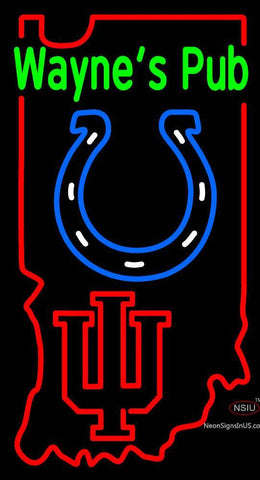 Custom Cecils Pub With Colts And Indiana Hoosiers Neon Sign