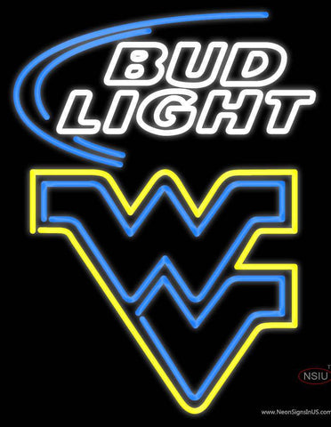 West Virginia University Flying Wv Budlight Logo Neon Sign