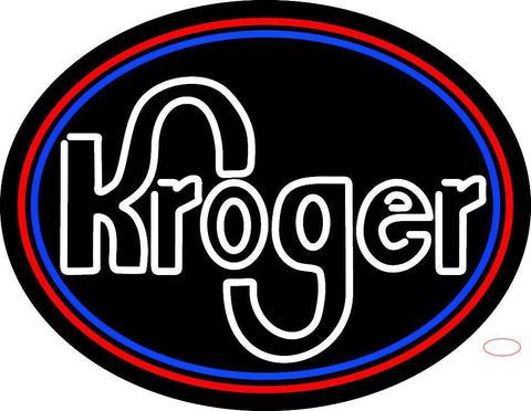 Custom White Kroger With Round Logo Neon Sign