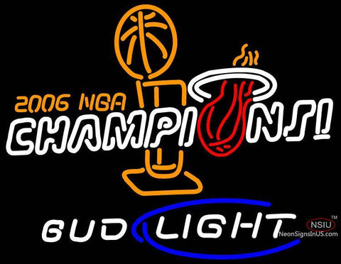 Miami Heat World Champs Budweiser Neon Sign Lebron Wade No Auto