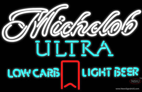 Michelob Ultra Light Low Carb Red Ribbon Neon Beer Sign