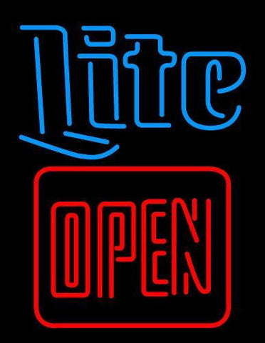 Miller Lite Red Open Neon Beer Sign