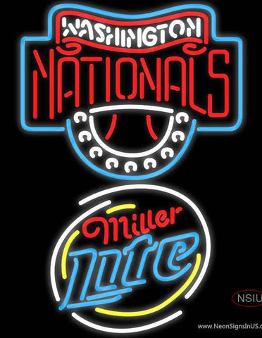 Miller Lite Rounded Washington Nationals MLB Neon Sign