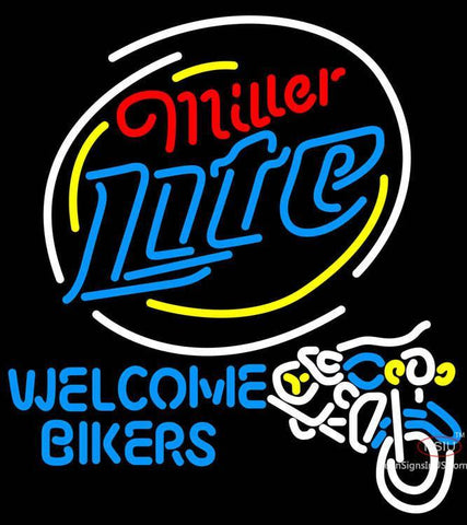 Miller Lite Welcome Bikers Neon Beer Sign