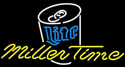 Miller Lite Time Can Neon Beer Sign