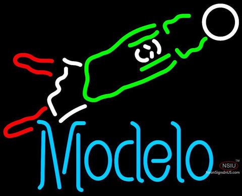 Modelo Soccer Goalie Neon Beer Sign