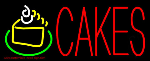 Red Cakes with Cake Slice Neon Sign