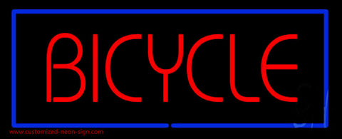 Red Bicycle Blue Rectangle Neon Sign