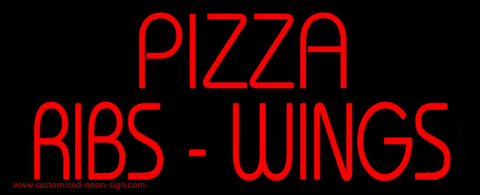 Red Pizza Ribs Wings Neon Sign