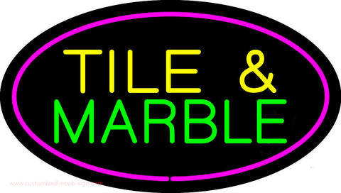 Tile and Marble Oval Purple Neon Sign