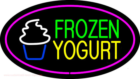 Frozen Yogurt Oval Pink Neon Sign
