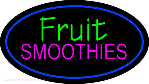 Fruit Smoothies Oval Blue Neon Sign