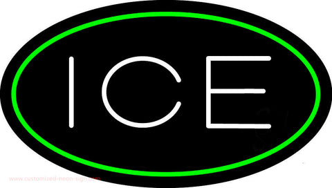 Oval Green Ice Neon Sign
