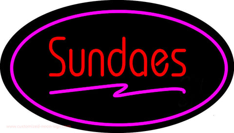 Sundaes Oval Pink Neon Sign