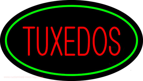 Tuxedos Red Oval Green Neon Sign