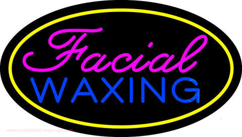 Facial Waxing Oval Yellow Neon Sign