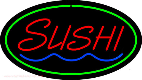 Sushi Oval Green Neon Sign