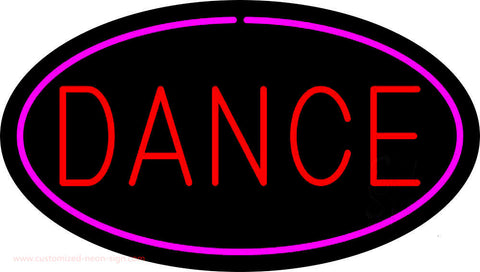 Red Dance Oval Pink Border Neon Sign