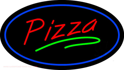 Pizza Oval Blue Border Neon Sign