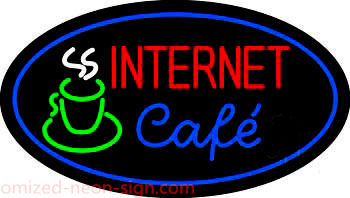 Oval Internet Cafe Neon Sign