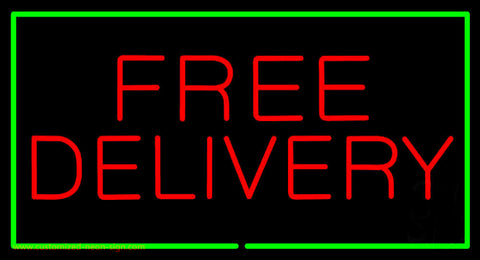 Free Delivery Rectangle Green Neon Sign
