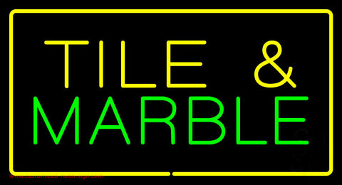 Tile and Marble Rectangle Yellow Neon Sign