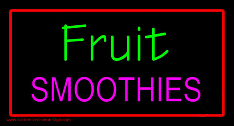 Fruit Smoothies with Red Border Neon Sign