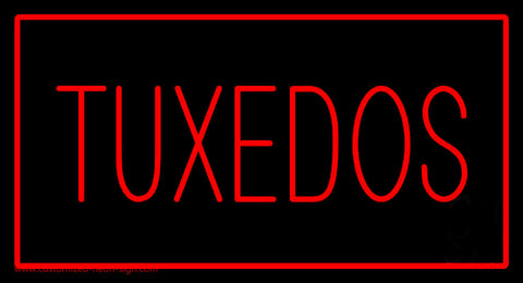 Tuxedos Rectangle Red Neon Sign