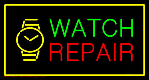 Watch Repair with Logo Yellow Border Neon Sign