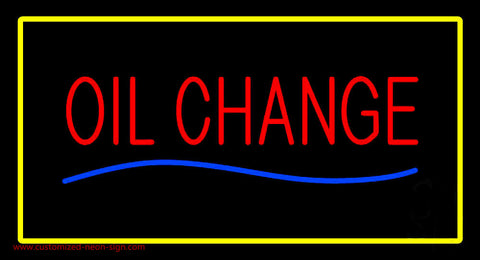 Oil Change Yellow Rectangle Neon Sign