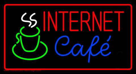 Red Internet Cafe with Coffee Mug Neon Sign