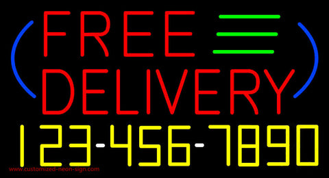 Free Delivery with Phone Number Neon Sign