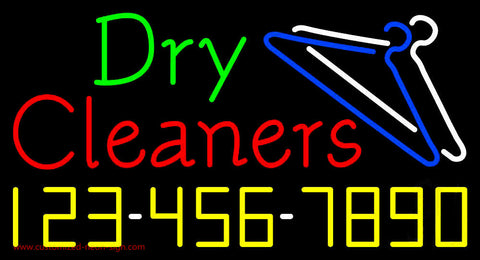 Dry Cleaners with Phone Number Logo Neon Sign