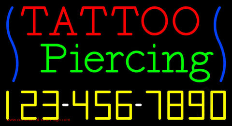 Tattoo Piercing with Phone Number Neon Sign