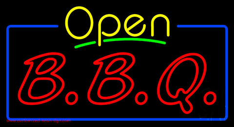 Open Double Stroke BBQ Neon Sign